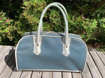 Retro Blå Bag från 50 talet Galon Skinn Väska Nostalgi Kuriosa