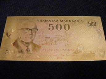 500 Markkaa sedel forgylld replika - 24 Karat guld - Marslev - 500 Markkaa sedel forgylld replika - 24 Karat guld - Marslev