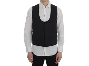 Dolce & Gabbana - Black Gray Wool Stretch Vest
