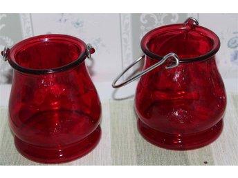 2 st röda fina ljus lyktor glas vackert i mörkret dekorera - Skogås - 2 st röda fina ljus lyktor glas vackert i mörkret dekorera - Skogås