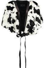 JOFAMA *Cowpile* 212900-02 Poncho Black White leather Knyt 38/One S- NY (2495:-)