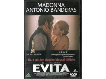 Evita (av Alan Parker med Madonna, Jonathan Pryce, Antonio Banderas) - Vollsjö - 130 min. 1990. Språk: engelska. Text: danska. DVD i mycket gott skick. The hit musical based on the life of Evita Duarte, a B-picture Argentinian actress who eventually became the wife of Argentinian president Juan Perón, and the most beloved - Vollsjö