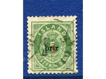 "Prir, liten stil, 12,75 x 12,75,o Facit 34, F:5.000 attest, ""Genuine, fine copy"""