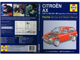 3014 Haynes Service and Repair Manual CITROËN AX + bilaga