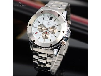 REA KS 6 Hands White Date Stainless Steel Men Automatic Mechanical Watch
