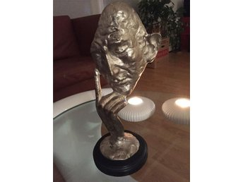 Skulptur silverpatinerad - The Thinker