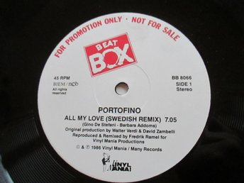 "Beat Box promo 12"" maxi: PORTOFINO - ALL MY LOVE (Swedish Remix)"