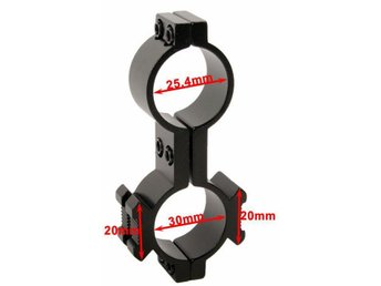 30mm and 25.4mm Ring Adapter Barrel Tube Mount - 20mm rail