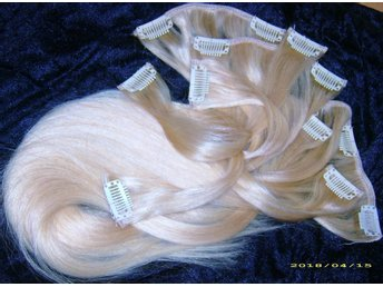 CLIP ON SET 7 DELAR ÄKTA REMY 50/52 CM #60 BLOND //