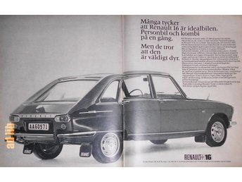 RENAULT 16 PERSONBIL SVENSKA RENAULT AB TIDNINGSANNONS 1967 - öckerö - RENAULT 16 PERSONBIL SVENSKA RENAULT AB TIDNINGSANNONS 1967 - öckerö