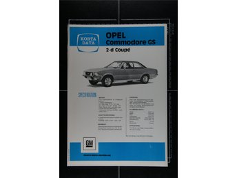 Opel Commodore GS 2-d Coupé faktablad