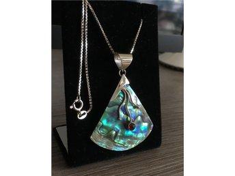 SISTA!! Exklusivt, unikt, elegant ABALONE, 925 sterling silver halsband - Holmsund - SISTA!! Exklusivt, unikt, elegant ABALONE, 925 sterling silver halsband - Holmsund