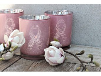 Majas Cottage Lykta Pink RIbbon Rosa bandet Faith rosa/silver