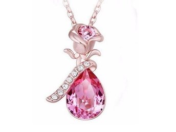 Rosa halsband / Pink Rose Gold Plated Pink Flower Pendant