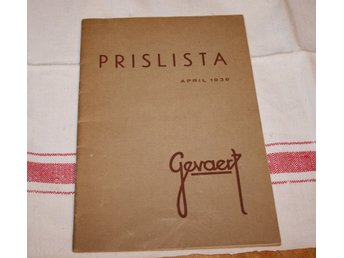 PRISLISTA GEVAERT APRIL. 1936