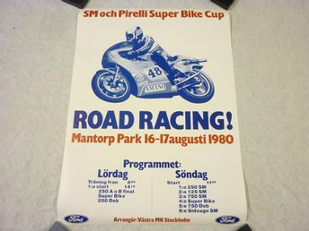 Affisch: Road Racing Motorcykel Mantorp Park 16-17 Aug. 1980