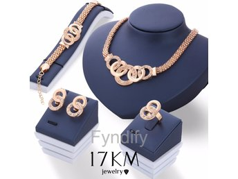 Smyckesset Crystal Gold Necklace Earring Bracelet Ring Set