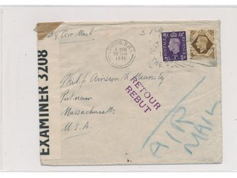 1941 - London NWI - CENSORED AIR MAIL brev til USA. - RETOUR - Misdirected