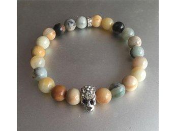 Armband elastiskt med amazonit stenar, dödskalle med kristaller . Äkta stenar! - Vendelsö - Armband elastiskt med amazonit stenar, dödskalle med kristaller . Äkta stenar! - Vendelsö