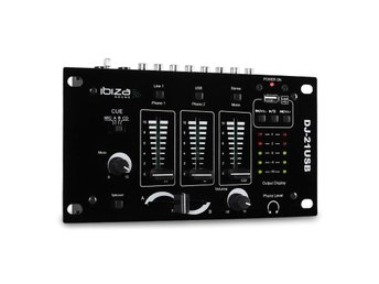 Ibiza DJ-21 3/2-kanals mixer USB talkover party
