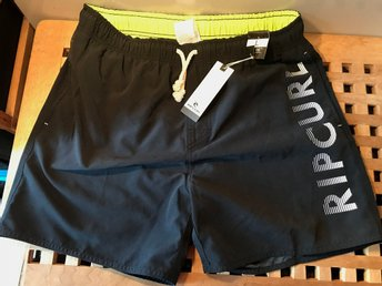 RIP CURL Volley Colorful Badshorts Badbyxa Swimshorts Svarta Stl. L NY