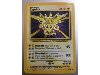 Pokemon Zapdos 90 hp 16/102 holo rare