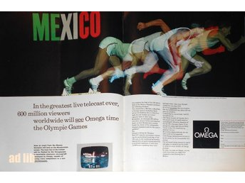 OMEGA - TIME THE OLYMPIC GAMES MEXICO STOR TIDNINGSANNONS Retro 1968