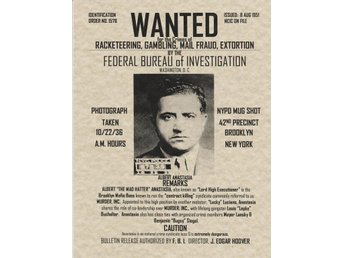 ALBERT ANASTASIA WANTED POSTER AUGUST 8, 1951