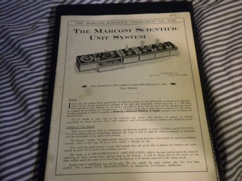 "Sällsynt RADIOKATALOG ""The Marconi Scientific Unit System"" , London,  år 1922."