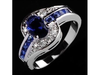 Fashion Women Blue Sapphire  Engagement Ring Jewelry storlek 18