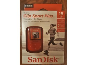 NY! Sandisk Clip Sport Plus MP3-spelare.BLUETOOTH. 16GB.RÖD.Med Originalkartong.