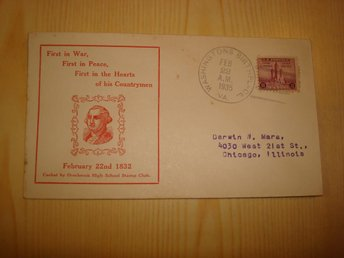 George Washington 1935 USA förstadagsbrev FDC