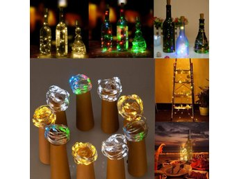 Battery Powered 15 LEDs Cork Shaped LED Sliver Wire Starr...