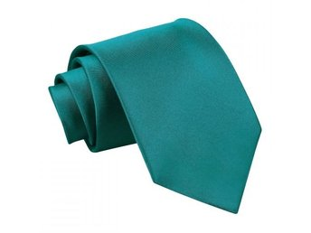Blågrön (teal) satin slips _ Regular