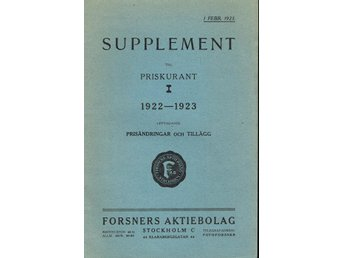 Forsners Supplement till priskurant I 1922-1923