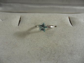 RING I 925 STERLING SILVER MED AQUAMARIN CUBIC ZIRCON 17 MM.(CZ128)