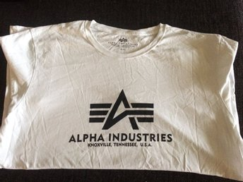 Alpha Industries, vit fin T-shirt storlek 3XL