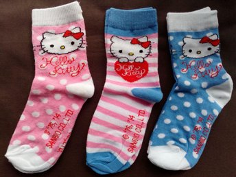 Ny 3-pack Hello Kitty strumpor sockar, stl 27-30