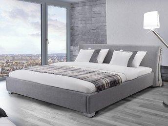 Stoppad säng grå - dubbelsäng - inklusive ribbotten - 180x200 cm - PARIS - Grünow - Stoppad säng grå - dubbelsäng - inklusive ribbotten - 180x200 cm - PARIS - Grünow