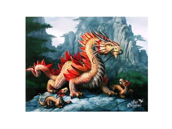 Canvas Tavla - Golden Mountain Dragon
