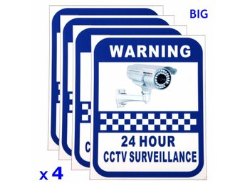 4xCCTV Camera Warning Stickers Surveillance Vinyl Decal V...