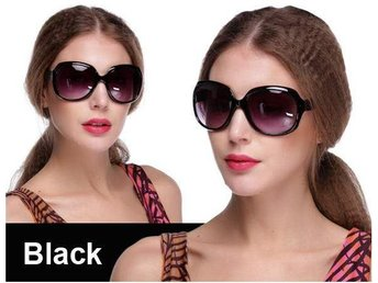(SKU00145)1ST Retro Women Oversized Designer Sunglasses(Black)
