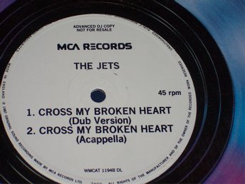 "JETS THE - CROSS MY BROKEN HEART 12"" 1987 PROMO"