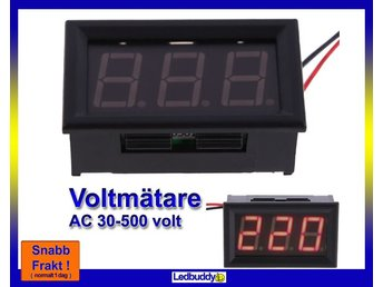 Voltmätare 70-500 volt AC växelström Digital med röd LCD display Superpris !!