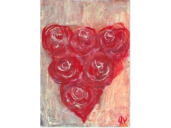 Akvarell, akryl Queen, Hjærta av rosor, orginalmålning - Strömstad - Akvarell, akryl Queen, Hjærta av rosor, orginalmålning - Strömstad