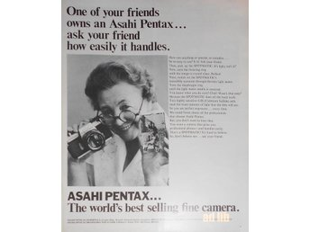 ASAHI PENTAX WORLD'S BEST SELLING FINE CAMERA TIDNINGSANNONS Retro 1968