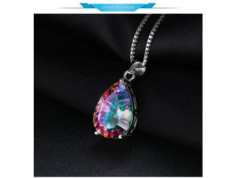 4ct Genuine Multicolor Rainbow Fire Mystic Topaz Pendant Pear Real Pure 925