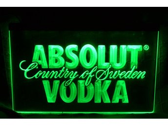 Absolut Vodka Grön LED Reklamskylt Skylt Logo Ny