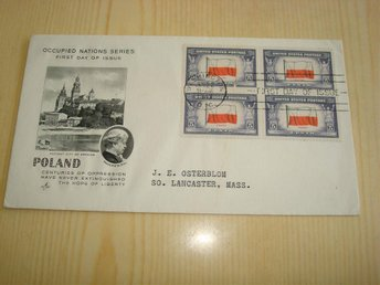 Polen Poland WWII Occupied Nations 1943 USA förstadagsbrev 4 frimärken
