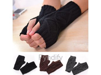 Fingerless Knitted Long Gloves Svart 19cm